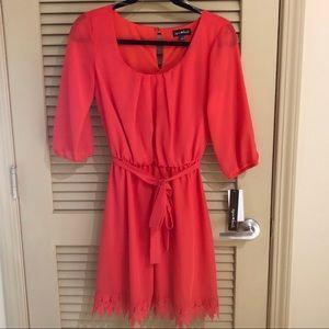 🆕 Sequin Heart Coral Dress w/ Lace Hem